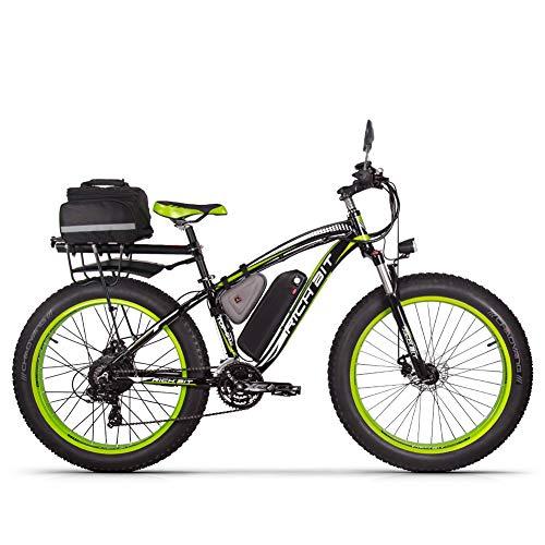 RICH BIT Vélo électrique RT-022 1000W Moteur brushless 48V*17Ah LG li-Battery Smart e-Bike Frein à Double Disque Shimano 21-Speed (Green)
