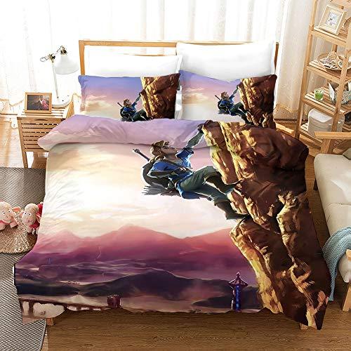 Proxiceen Anime Zelda Set di biancheria da letto in microfibra super morbida con 2 federe (letto grande 220 x 240 cm) (A5,135 x 200 cm + 80 x 80 cm x 2)