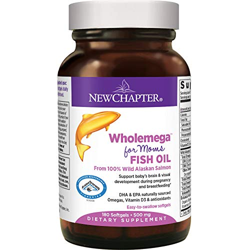 New Chapter Prenatal DHA - Wholemega for Moms Fish Oil Supplement with Omega-3 + Vitamin D3 for Prenatal & Postnatal Support - 180 ct