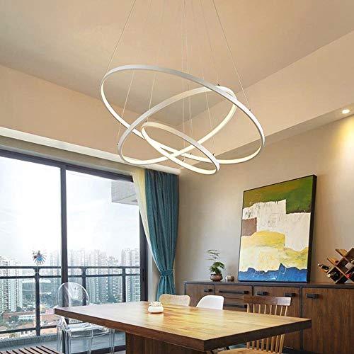 Variateur Télécommande LED Moderne Acrylique Suspension Luminaire de Salle à manger Lampe suspendu Luminaires d'intérieur Géométrie Design Plafonnier de Bureau D60cm Blanc, Blanc chaud