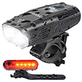 YOSKY USB Rechargeable Bike Light Set - 1000 Lumens Smart Led Bicycle Headlight Free Tail Light -...