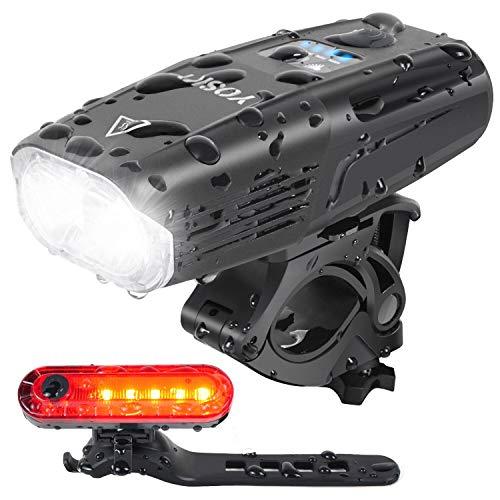 YOSKYSHINE Luci Bicicletta LED Ricaricabile USB 1000 Lumen Super Luminoso Luci Anteriore e Posteriore con 4 modalità di Illuminazione Sicuro per Bici Strada