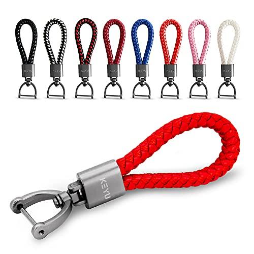 KEYU NEU Schlüsselanhänger im maritimen Look mit Kordel für Damen & Herren | Schlüsselband | Autoschlüsselanhänger | Lanyard mit Karabiner (Rot)