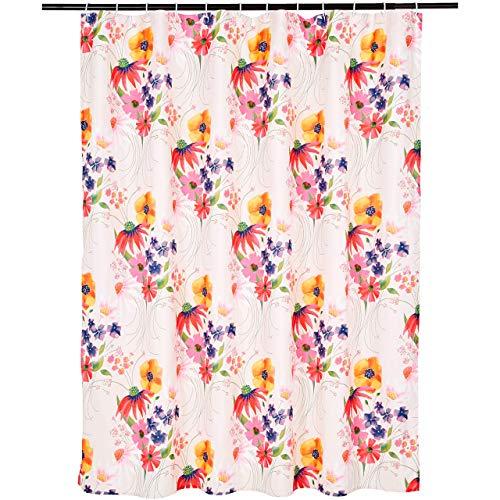 Amazon Basics Bathroom Shower Curtain - Multicolor Blossom,...