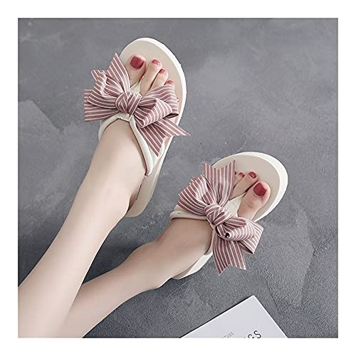 Bow Flip Flaks Cross-Border Platform Plataforma de Plataforma Sandalias Antideslizantes Slippers para Mujer Mujeres (Color : 3cm White Pink, Shoe Size : 38)