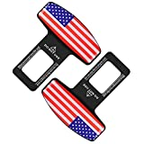 2 Pack Car Seat Belt Clip, Universal Car Seat Belt Silencer Metal Tongue, Seat Safety Belt Buckle Auto Metal Seat, Universal for Most Vehicle (Red)