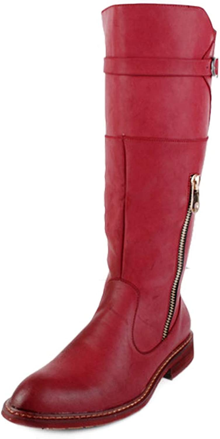 Ruiyue Fashion Knee High Boots, PU Leather Side Zipper Slip On British Style Combat shoes For Men (color   Red, Size   5.5 UK)