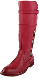 CHENDX Shoes, Men's Fashion British Style Pointed Toe Knee High Boots PU Leather Side Zipper Slip On Combat Shoes (Color : Red, Size : 7 UK)