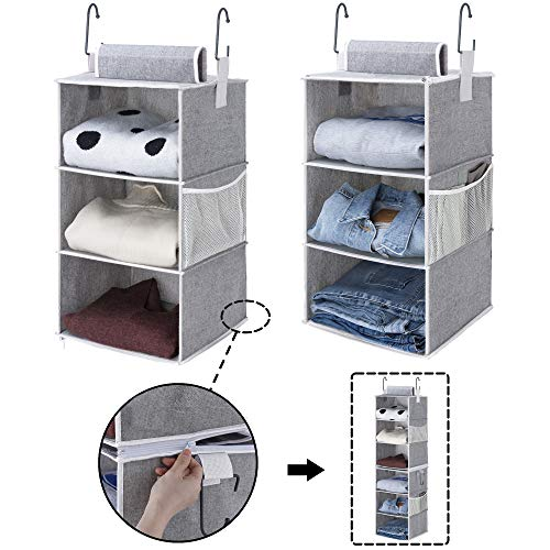 "StorageWorks 6-Shelf Hanging Closet Organizers, Two 3-Shelf Separable Closet Hanging Shelves, Canvas, Gray, 12"" W x 12"" D x 42"" H"