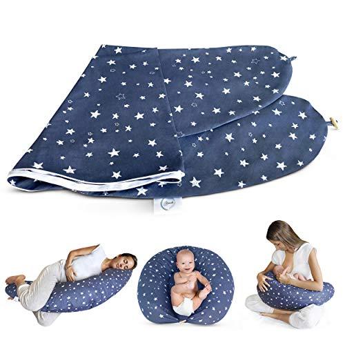 Bamibi ® Fundas Cojín Embarazo y Lactancia Multifuncional, 100% algodón, removible y Lavable (Estrellas)