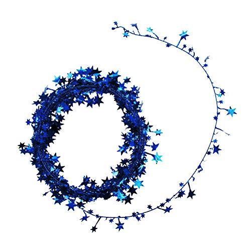 Oblique Unique® Folien Girlande Stern Lametta Glitzer Draht 7,5m Hängedeko Tischdeko Geburtstag Jubiläum JGA Hochzeit Weihnachten Silvester Party Karneval Fasching Deko - wählbar (Blau)