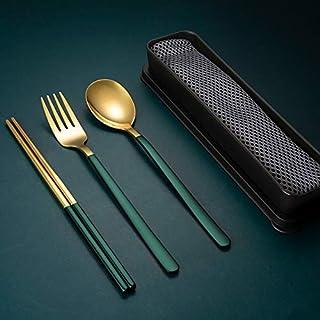 Cuchillo y Tenedor de 3 Piezas Acero Inoxidable 304 para Acampar al Aire Libre wangjiangda Juego de Cubiertos Plegables Conjuntos de Cuchara