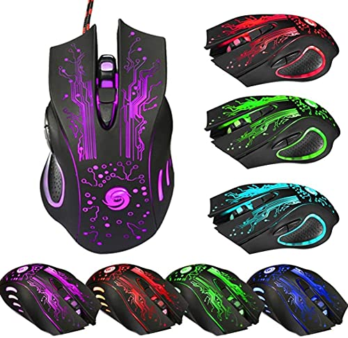 GOLDEN FASHION USB Gaming Mouse, Led Backlit, 6 Button, 7 Color Breathing Lights, High Ergonomic Mouse, Durable ABS Body for Computer PC & Laptop,Braided Cable (Black)