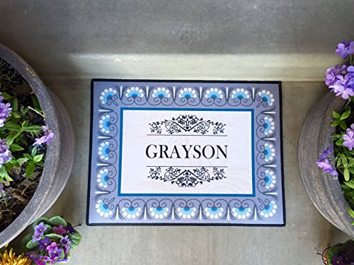 Customized Non-Slip Welcome Mat for Front Door, Outdoor and Indoor Personalized Rug, Home Decoration, Wedding, Anniversary, and Housewarming Gift (Grayson Design, Medium Size 24
