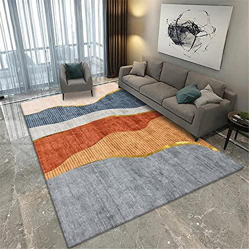 Alfombras aspiradora Alfombra Azul Amarillo Gris Simple Doodle diseño Sala de Estar Dormitorio Alfombra alfombras de habitacion Antideslizantes para alfombras 60*120cm