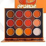 DE'LANCI Orange Eyeshadow Palette,12 Color Matte Shimmer High Pigmented Mini Makeup Eyeshadow Pallet,Yellow Coral Brown White Natural Warm Blendable Long-Lasting Waterproof Small Pallets Eyeshadow