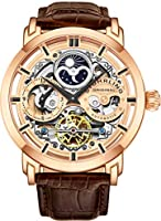 Stuhrling Original Mens Automatic-Self-Wind Luxury Dress Skeleton Dual Time Rose Gold Wrist-Watch 22 Jewels 47 mm...