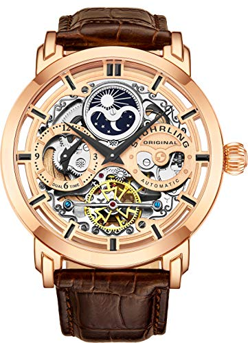 Stuhrling Original Mens Automatic-Self-Wind Luxury Dress Skeleton Dual Time Gold-Tone Wrist-Watch 22 Jewels 47 mm Stainless Steel Case