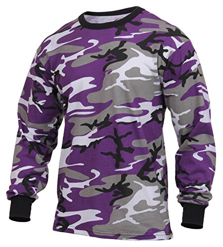 Rothco Long Sleeve Colored Camo T-Shirt, Ultra Violet Camo, XL