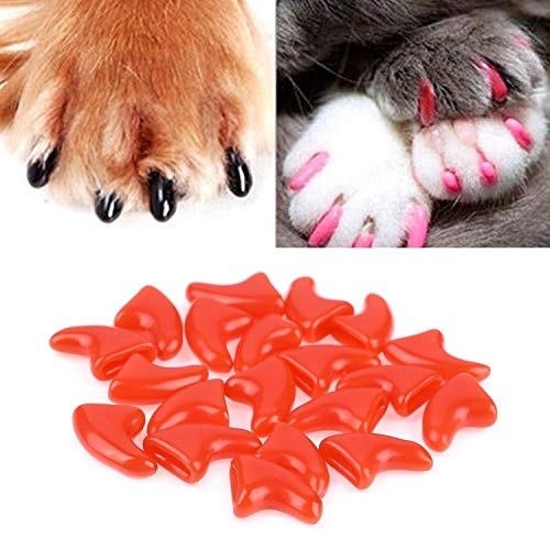 WJH 20 PCS Silicona Soft Cat Clavos for uñas/Cat Paw Claw/Pet Nail Protector/Cat Nail Cover (Color : Red)