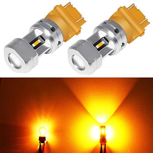 Phinlion 3600 Lumens 3157 3457 Amber LED Turn Signal Light Bulbs Super Bright 3156 3057 3757 4157 LED Bulb for Turn Signal Blinker and Parking Lights, Amber Yellow