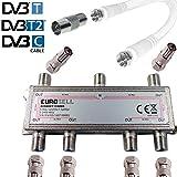 TronicXL 6fach Antennenverteiler IEC Verteiler TV Kabel Adapter Kabelfernsehen 6
