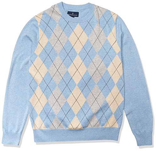 Amazon Brand - Buttoned Down Men's 100% Supima Cotton Crew Neck Sweater, Light Blue Argyle, Small