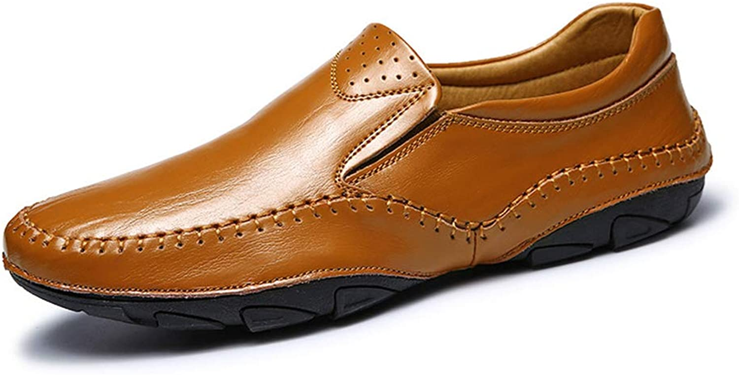 Y-H Men's shoes,Leather Spring New Light Soles Loafers & Slip-Ons Lazy shoes,Slip-Ons Breathable Driving shoes Cycling shoes,Brown,44