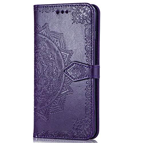 QPOLLY Kompatibel mit Samsung Galaxy S10e Hülle PU Leder Tasche Brieftasche Handyhülle Mandala Blumen Muster Ledertasche Flip Hülle Schutzhülle mit Ständer Kartenhalter für Galaxy S10e,Lila