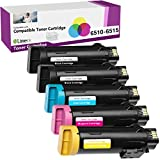 Limeink 5 Pack Compatible High Yield Laser Toner Replacement Cartridges for Xerox Phaser 6510 Workcentre 6515 Printer 6515/dn 6515/dni 6510/dn dni (2 Black, 1 Cyan, 1 Magenta, 1 Yellow) - New Chip