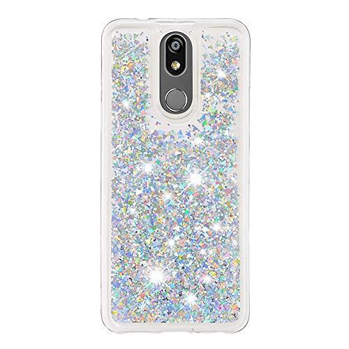 CUAgain Funda Compatible con LG K40 2019/LG K12 Plus/LG X4 Glitter Silicona Transparente 3D Bling Dibujos Cover Carcasa Cristal Liquida Goma Case Antigolpes Resistenete Bumper Niña Chica,Plata
