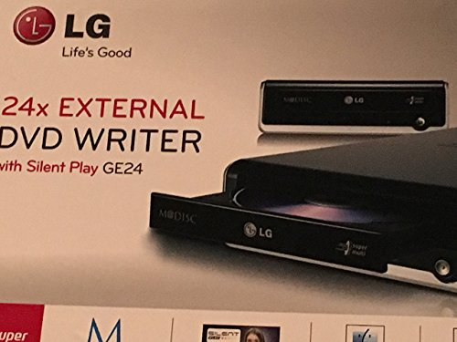 LG Electronics Super Multi Mdisc DVD External Writer GE24NU40 Retail Box + Software + USB Cable + AC Power Adapter (Black) (Renewed)
