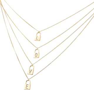 UNIQFAVOR Lock Initial Pendant Necklace – 14K Gold Love CZ Engraved, 4 Letters Chain Necklace Charm, Padlock Layered Choker Necklaces, Jewelry Idea for Women, Girl, Mother, Lover, Friends