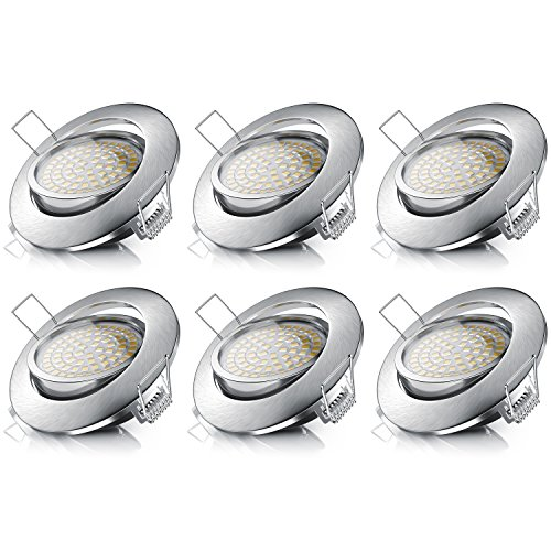 Brandson - LED Deckenspot dimmbar und schwenkbar 6er Set - LED Einbauleuchte - LED Einbauspot LED Deckenstrahler - Slim Aluminium Druckgussrahmen Edelstahl Optik - Modell 2020