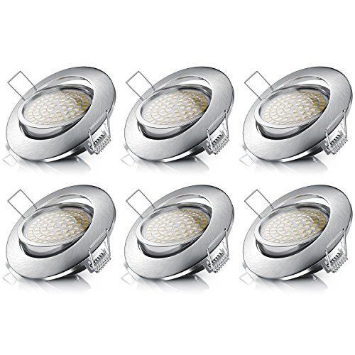Brandson - 6X LED Deckenspot dimmbar und schwenkbar 6er Set - LED Einbauleuchte - Einbauspot Deckenstrahler - Slim Aluminium Druckgussrahmen Edelstahl Optik