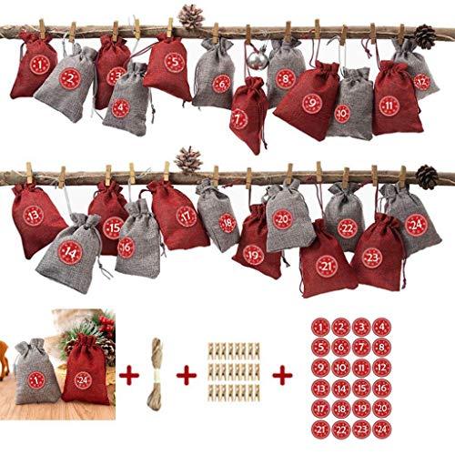 MEIZHEN 24 Pcs Christmas Party Favor Gift Bags Burlap Christmas Drawstring, Christmas Advent Calendar, Candy Gift Bags Sacks DIY Xmas Countdown Decorations (05)