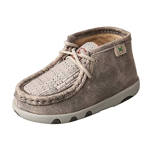 Twisted X Genuine Leather Infant Chukka Driving Moc Shoes, Light Grey, Size 4