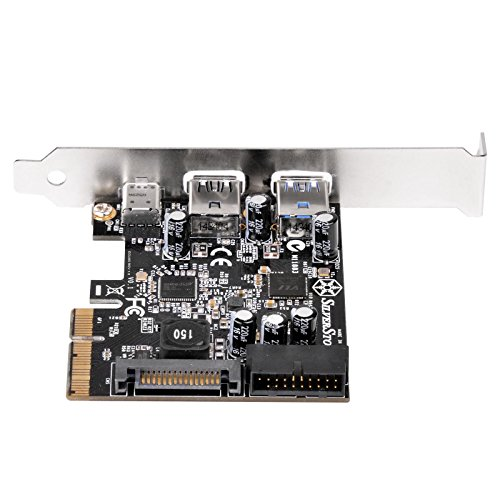 SilverStone SST-ECU05 - PCI-E Erweiterungskarte, 1x extern USB 3.1 Typ C, 2x USB 3.0 Typ A, 1x intern USB 3.0 19-pin Anschluss, 10 Gbps, low-profile geeignet