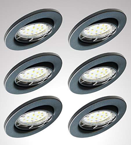 Trango Juego de 6 focos LED empotrables 6729-061MOSD en color antracita mate, redondos, incluye 6 focos de 5 W y 3 niveles de intensidad regulable, módulo LED ultraplano, 3000K luz blanca cálida