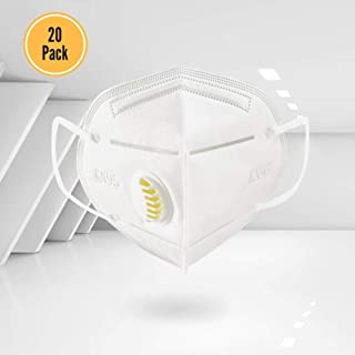 Disposable Dust Masks with Exhalation Valve - Safety N95 Respirator Mask with Nose Clip (20 pack) | Multi-Layer Particulate Respirators for Construction, Home, DIY Projects