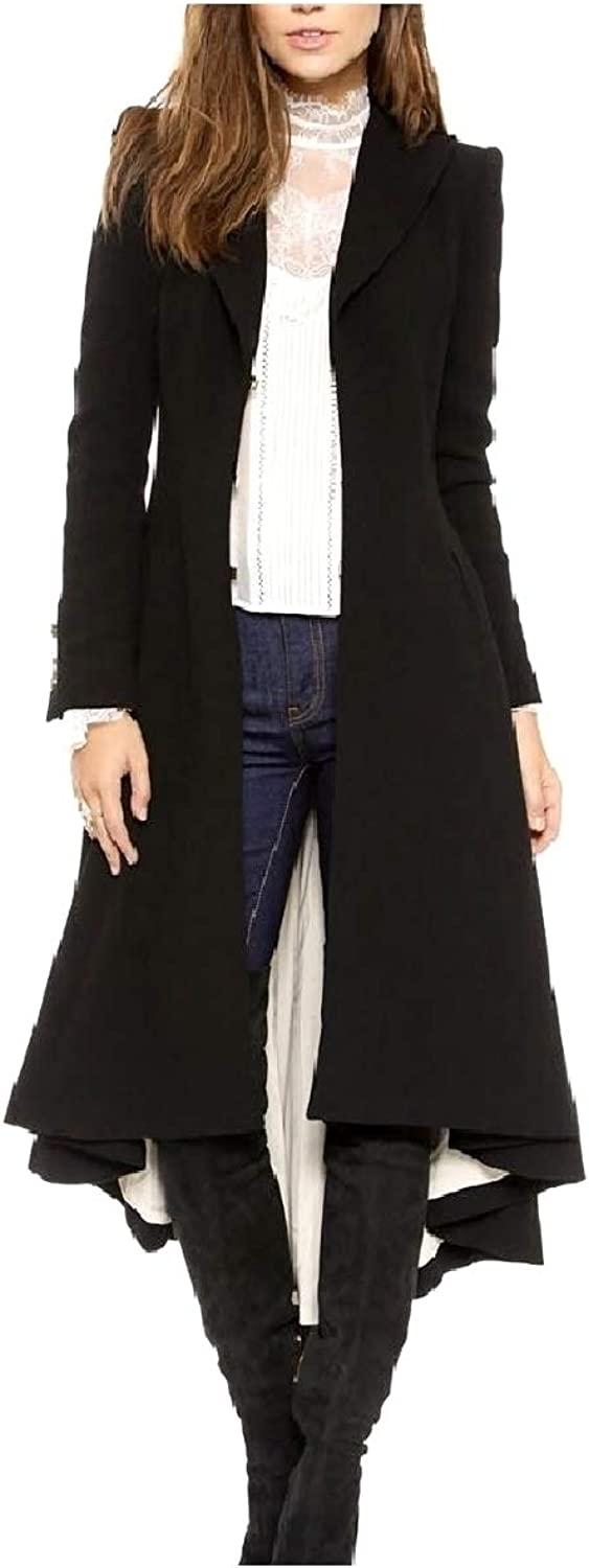 Comaba Women's Classy Trench Asymmetry Overcoat Fall Winter Pea Coat