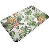 Alfombra tropical con diseño de hojas de palma y flores con arco iris, para dormitorios, sala de estar, habitación de niños, decoración antideslizante y lavable