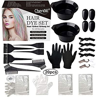 20 Pieces Hair Dye Coloring Kit, Hair Tinting Bowl, Dye Brush, Ear Cover, for DIY Salon Hair Coloring Bleaching Hair Dryers Hair Dye Tools