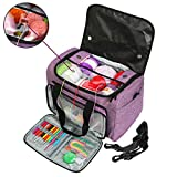 Looen Luxurious Knitting Bag with Shoulder Strap, Yarn Tote Organizer with Removable Inner Divider for Crochet Hooks, Knitting Needles,Bulk Yarn Project and Supplies,Accessories Not Included (Purple)