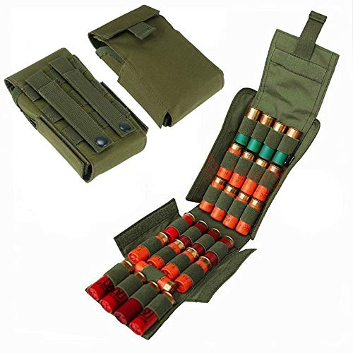 FIRECLUB Tactical 25 Rounds Shotshell Pouch Holder Compact Foldable Shotgun Reload Ammo Mag Bag Quick Access Shotgun Shell Carrier (ArmyGreen)