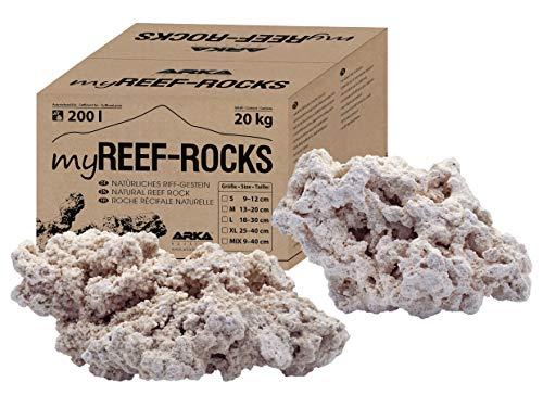 ARKA Aquatics MRROSSM myReef-Rocks - Piedra de Arca Natural, también Adecuada para acuarios Cichliden, Alta porosa, sin sustancias nocivas, 20 kg, S