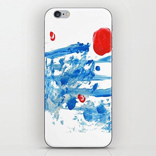 koienOU - linee blu - rosso sole - Cover rigida nera lati della custodia per iPhone 6 (11,94 cm)/6S