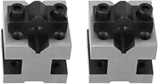 2pcs V-blocks & Clamp Set Precision Matched Pair V-Block 90°Machinist V Block Ground Pair with Clamp Multi-use Gauge Gage Machinist Tool