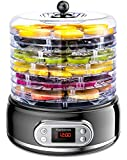 Elechomes 6-Tray Food Dehydrator, Mesh Screen and Fruit Roll Sheet Included, Fast Drying for Beef Jerky, Meat, Fruit, Dog Treats, Herbs, Vegetable, Digital Time & Temperature Control, Overheat Protection, BPA Free
