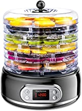 Food Dehydrator, Elechomes 6-Tray Dryer for Beef Jerky Meat Fruit Dog Treats Herbs Vegetable Digital Time & Temperature Control Overheat Protection Fruit Roll Sheet Included BPA Free